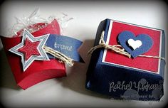 Red, White & Blue. Stampin' Up!'s hamburger and French fry box die are so fun and versatile. These would be great for your upcoming 4th of July gatherings. Or just change the colors and stamps and you have a favor for any party. Visit Rachel's Stamping Place more more details and to place your order for your own die to use with the Big Shot.