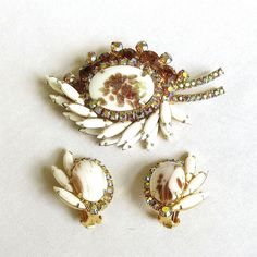 Vintage Juliana Milk Glass Brooch and Earrings Set, Gold Fluss Amber and Aurora Borealis Rhinestones Verified D&E by MyVintageJewels on Etsy