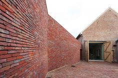Rabbit Hole by LENS°ASS Architecten in Pajottenland Belgium is a private family brick house and veterinary clinic. Brick Paving, Brick Fence, Brick Facade, Red Architecture, Residential Architecture, Best Architects, Old Farm Houses, Small Houses, Inside Outside
