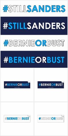 """A collection of bumper stickers and other gifts for supporters of Bernie Sanders for president and his movement.   If you were one to """"Feel the Bern"""" and are #StillSanders then don't give in to Crooked Hillary.  All of those grassroots donations to Bernie will now be going to Hillary.  Do not go quietly into the night!  Show your continued support for the ONLY honest candidate in the election! #BernieorBust"""