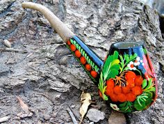 tobacco pipe Peace pipe carved wood Painted ethnic Hippie gift for men Long wooden pipe Ukrainian gift Black yellow orange Smoking pipe