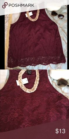 NWT Garnet Lace Blouse Beautiful and versatile lace blouse in a rich garnet tone. Polyester lined (garnet). Stretches. No buttons/zippers. Great addition to your wardrobe ❤️ Tops