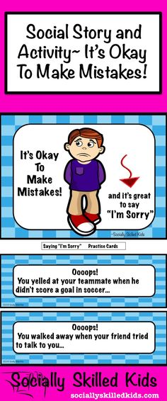 Social Story and Activity: It's Okay To Make Mistakes and It's Great To Say I'm Sorry. For boys K-2nd Grade.