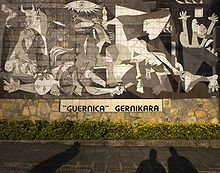 """Pablo Picasso   Guernica  1937\Oil on Canvas  137.4"""" x 305.5""""  Museo Reina Sofia, Madrid    uernica shows the tragedies of war and the suffering it inflicts upon individuals, particularly innocent civilians. This work has gained a monumental status, becoming a perpetual reminder of the tragedies of war, an anti-war symbol, and an embodiment of peace. On completion Guernica was displayed around the world in a brief tour, becoming famous and widely acclaimed."""