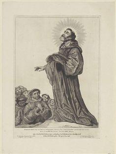 Cornelis Visscher (II) | H. Egbertus van Ierland, Cornelis Visscher (II), Pieter Claesz. Soutman, unknown, 1650 | De heilig verklaarde monnik Egbertus van Ierland predikt voor een groep monniken. Deze prent maakt deel uit van een reeks Nederlandse heiligen.