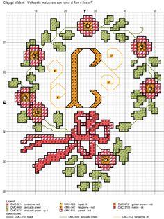 alfabeto maiuscolo con ramo di fiori e fiocco C