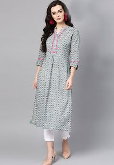 Women clothing Outfits Style - - - Women clothing Over 50 Printed Kurti Designs, Simple Kurti Designs, Churidar Designs, Kurta Designs Women, Stylish Kurtis Design, Stylish Dress Designs, Sleeves Designs For Dresses, Dress Neck Designs, Casual Indian Fashion