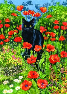 O57423_Poppy_Garden_Black_Cat-jigsaw-puzzle-w.jpg 572×800 pixels.....reminds me of our black cat, Cat King Cole.