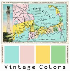 vintage color palettes - Cape Cod Auto Map. See blog for Hex Codes.