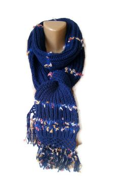 SALE Knit navy blue scarfwomen gifts ideasknitted by seno on Etsy, $25.00