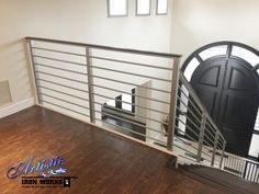 Modern Stair Railing - stainless steel Modern Stair Railing, Iron Stair Railing, Modern Stairs, Stainless Steel Stair Railing, Interior Railings, Steel Stairs, Rail Fence, Iron Work, Wrought Iron