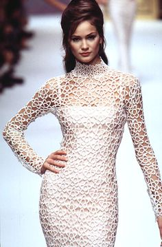 Herve Leger S/S 1996 - Beautiful fitted long-sleeved white lace crochet dress w/ fitted cowl - inspo