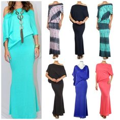 SOLID HOURGLASS MAXI ON/OFF SHOULDER DOLMAN SLEEVES BOUTIQUE QUALITY USA MADE #WeekendinVegas #Maxi