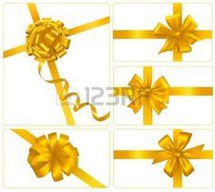 RIBBON OF COLOUR: Ensemble de boucles pour cadeaux avec des rubans d'or. Vecteur.