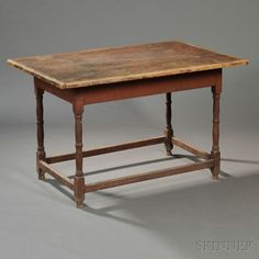 Large Red-painted Maple and Pine Tavern Table