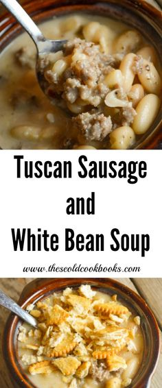 Omg I am IN LOVE WITH THIS SOUP! I will add a little more garlic and onion next time but wow Tuscan Sausage and White Bean Soup is a hearty, flavorful dish perfect for dinner any night of the week. Add some crackers and enjoy! Bean Soup Recipes, Crockpot Recipes, Cooking Recipes, Ark Recipes, Beans Recipes, Frugal Recipes, Hamburger Recipes, Sausage Recipes, Turkey Recipes