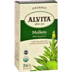 Alvita Organic Tea Herbal Supplement - Mullein Leaf - 24 Bags