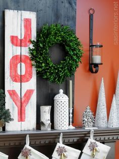 DIY: JOY sign created using leftover pallet planks + craft paint