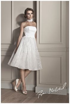 Tea length lace wedding dress by Papa Michel