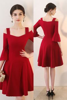 7fbb366e914f Burgundy Aline Short Red Homecoming Dress with Bell Sleeves #HTX86042 -  GemGrace.com