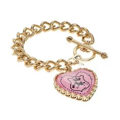 """JUICY COUTURE Heart Charm Toggle Bracelet 🎉{HP}🎉{5⭐️Rated} NWT Juicy Couture Viva La Couture pink heart reversible charm gold tone bracelet will be a chic addition to your JC jewelry wardrobe! The bracelet features: toggle closure, large reversible heart charm with one side engraved """"J"""" means Viva La Couture & the opposite side has a pink scottie dog crest.   *Bracelet 7 1/4"""" length *Charm 1 1/4"""" X 5/16"""" thick *Bundle Discounts, Smoke-Free, No Trades Juicy Couture Jewelry Bracelets"""
