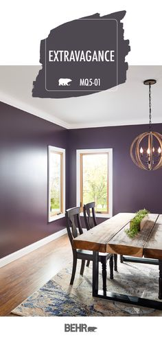 Looking for a bold way to shake up the interior design of your home? Start with a new wall color. Behr Paint in Extravagance is an easy way to upgrade your next DIY home improvement project. Click below for full color details to learn more. Behr Paint Colors, Colorful Interiors, Dining Room Colors, Purple Dining Room, Paint Colors For Home, Favorite Paint Colors, Paint Color Inspiration, House Colors, Bedroom Wall Colors