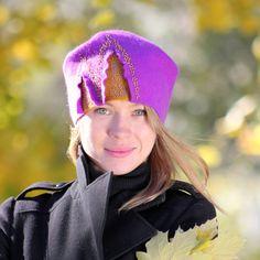 Voelde me hoed paars, vilten hoed dame, modieuze muts, warme vrouw hoed, hoed, vilten hoed, originele vrouwelijke Hat maroon, Women paars hoed, herfst GLB