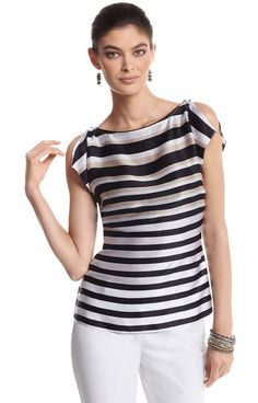 Silk Stripe Flutter Sleeve Blouse