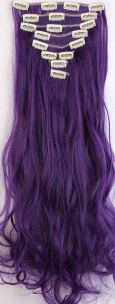 LAY Curly Purple Black Full Head Clip in Hair Extensions 8 Piece 18 Clips Hairpiece Trendy Design USA Local Post Cosplay Hair Purple Hair Extensions, Synthetic Hair Extensions, Clip In Hair Extensions, Cosplay Hair, Long Curly, Hair Pieces, Purple And Black, Fashion Watches, Red Hair