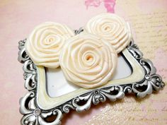3 Pk Handmade Satin Roses in Antique White (1.5 inches) for DIY hair accessories and other DIY projects