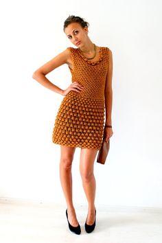 hand made knit dress pinterest | Hand knitted Golden dress Cocktail dress Party by ... | Handmade Latv ...