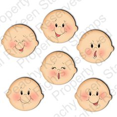 PK-0571 Basic Paper Doll Face Stamps 1-1/8th inch: Peachy Keen Stamps | Home of the original clear, peach-tinted, high-quality whimsical face stamps.