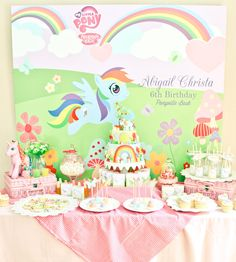 Colorful dessert table at a My Little Pony party!  See more party ideas at CatchMyParty.com!  #partyideas #mylittlepony