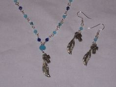 blue crystals, silvertone cross and feathers, necklace earring set handmade #Handmade