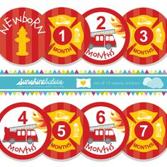 Monthly Baby Onesie Stickers for Boys - Fireman / Firefighter Theme - Unique Baby Shower Gift and Photo Prop. $9.99, via Etsy.