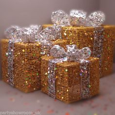 3 SEQUIN GOLD Gift Box SILVER Ribbon Christmas Decorations | eBay UK | eBay.co.uk