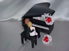Black Baby Grand Piano Classical Romantic Musical Wedding CakeTopper-2