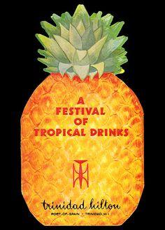 """Festival of Tropical Drinks"" cocktail menu, Trinidad Hilton-Port of Spain, Trinidad"