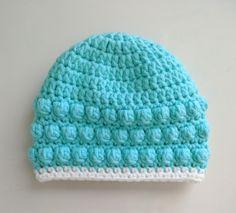 The Baby Bobble Beanie Crochet Baby Hats Free Pattern, Crochet Border Patterns, Bobble Crochet, Crochet Baby Beanie, Bobble Stitch, Newborn Crochet, Crochet Hats, Filet Crochet, Baby Girl Beanies