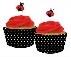 Fancy Lady Bug Cup Cake Toppers