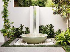 Contemporary water feature suitable for a tropical location