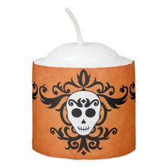 #Girly Halloween skull Votive Candle - #Halloween happy halloween #festival #party #holiday