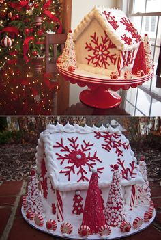 Gingerbread Houses: Tips & Tricks beautiful red and white inspiration gingerbread house White Gingerbread House, Cool Gingerbread Houses, Gingerbread House Designs, Gingerbread House Parties, Gingerbread Village, Gingerbread Cookies, Gingerbread House Decorating Ideas, Gingerbread Crafts, Christmas Sweets