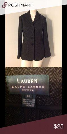 Ralph Lauren Black Herringbone Tweed Jacket 4P Very nice RL blazer jacket. Black herringbone pattern. Unlined button up in size 4 petite. Great condition. Made of 100% wool. Ralph Lauren Jackets & Coats Blazers