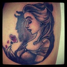 Amazing beauty and the beast tattoo