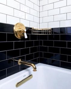 Brooklyn-based design firm chose our Highgate bath fittings for the guest rooms in tile ideas Bathroom Renos, White Bathroom, Bathroom Faucets, Bathroom Interior, Bathroom Ideas, Black Tile Bathrooms, Waterworks Bathroom, Black And Gold Bathroom, Bathroom Showers