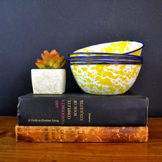 Set of Six Vintage Enamel Bowls, Yellow and Blue Enamelware, Yellow and White Splatter ware, Salad Bowls, Camping Dishes, French Farmhouse
