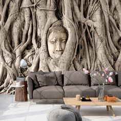 W/o the Buda 3d Wall Murals, Mural Wall Art, Room Divider Doors, Living Room Sofa Design, Wall Art Wallpaper, Photo Mural, Bungalow House Design, Wall Design, Decoration
