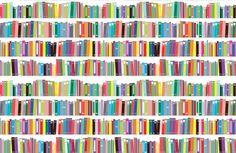 Bright Bookcase Effect Wallpaper Mural   Hovia UK
