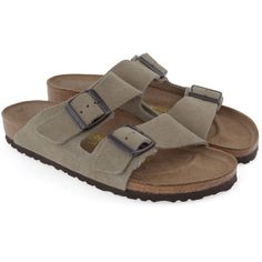 BIRKENSTOCK Arizona Narrow shoes (70 CAD) ❤ liked on Polyvore featuring shoes, birkenstocks, taupe, birkenstock shoes, narrow shoes, birkenstock footwear, strap shoes and birkenstock